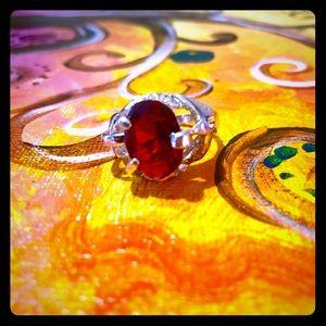 Rad Vntg Faux Ruby/Silver ring